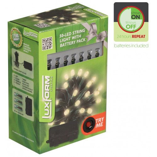 Luxform Warm White String Lights with Timer - 50 lights - Battery Operated